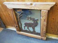 Panneau décoratif cerf avec cadre en bois et miroir