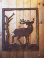 Panneau décoratif de cerf effet corten