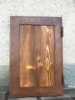 Porte effet corten avec panneau en bois brossé